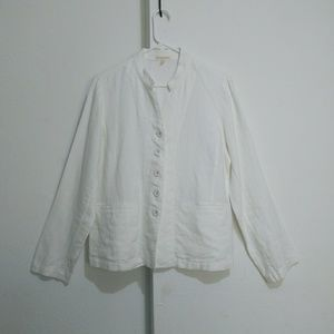 Eileen Fisher white linen jacket Mandarin collar,